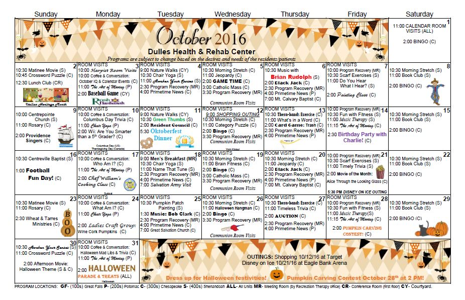 Dulles Health  Rehab Center  Activity Calendar  October