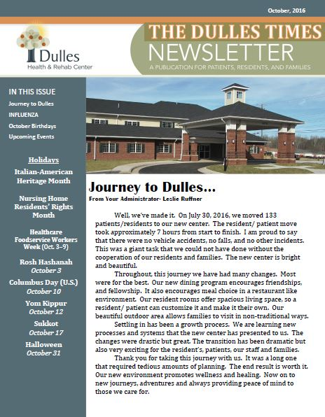 Dulles Health & Rehab Center | Monthly Newsletter – October 2016