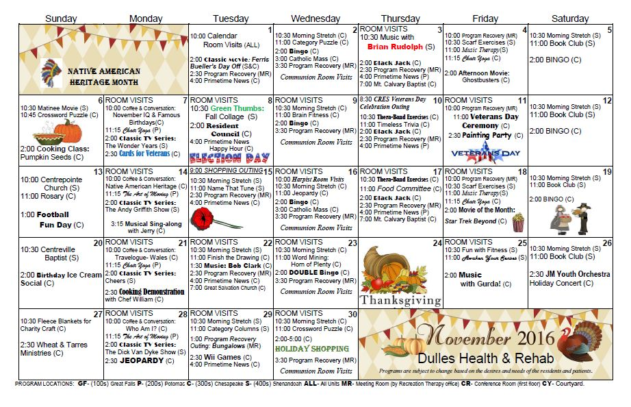 Dulles Health  Rehab Center  Activity Calendar  November