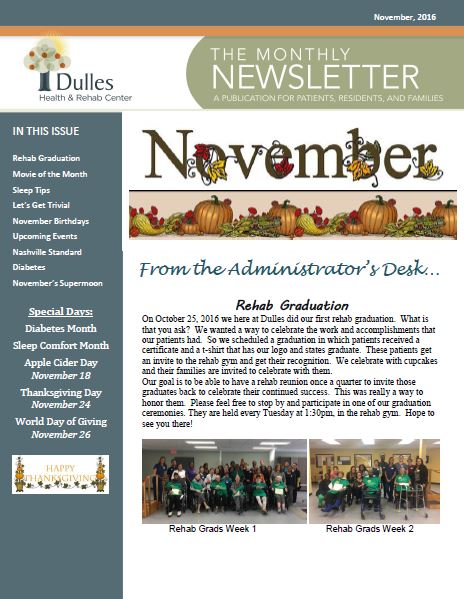 Dulles Health & Rehab Center | Monthly Newsletter – November 2016