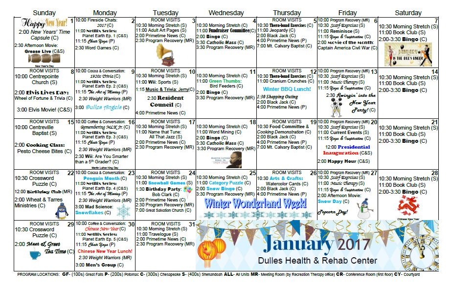 Dulles Health  Rehab Center  Activity Calendar  January