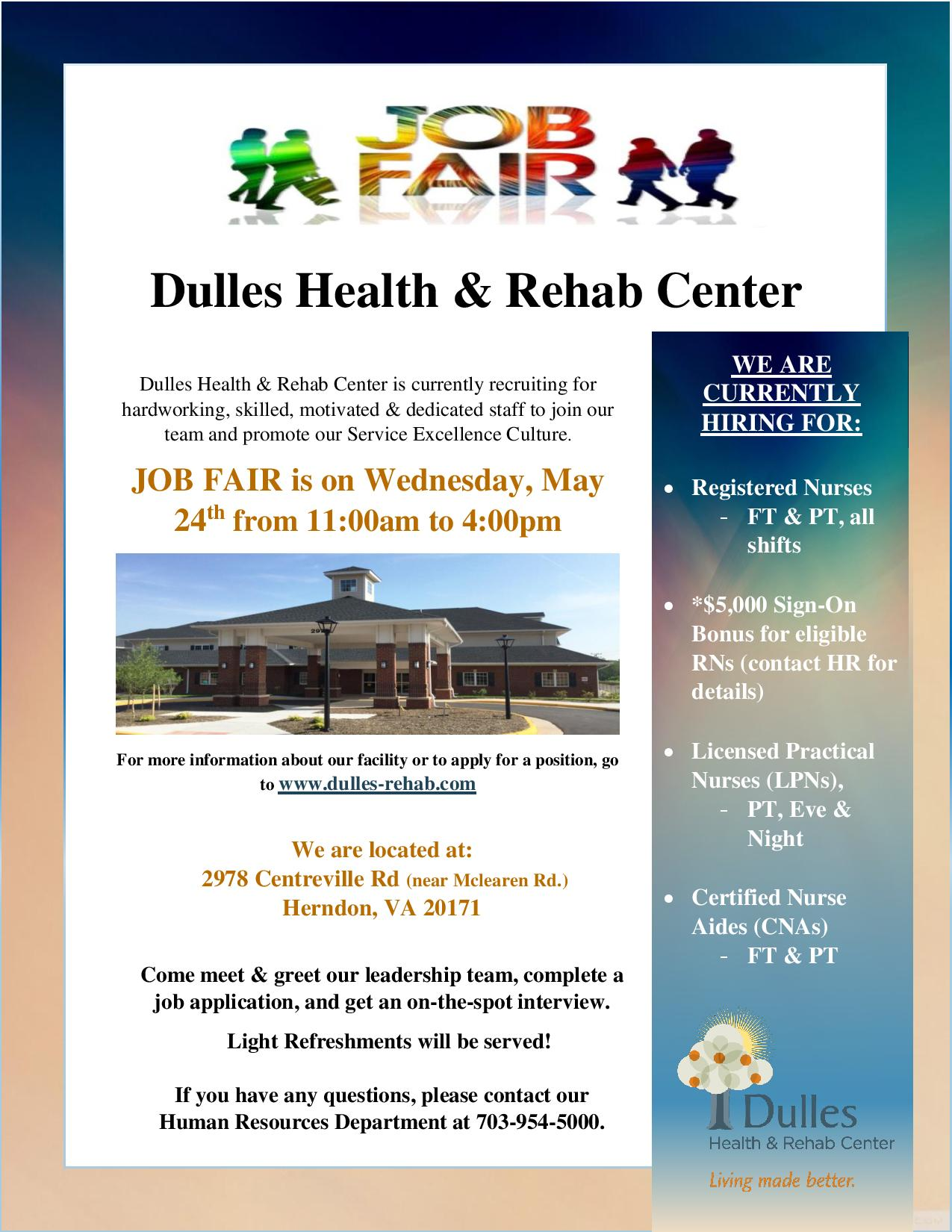Dulles health rehab center job fair may 24th 2017 questions contact human resources at 7039345000 apply for one of our positions on our jobs page xflitez Image collections